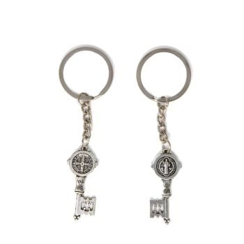 Small St. Benedict key medal keyring 9cm