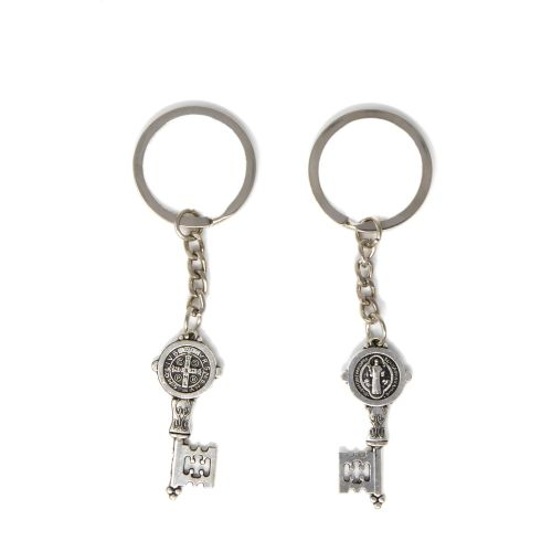 Small St. Benedict key medal keyring 9cm