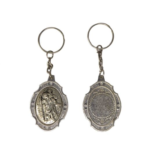 St. Christopher safe travel Catholic keyring gift 10cm