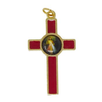 Rosary cross crucifix with the Divine Mercy Jesus image red 36mm