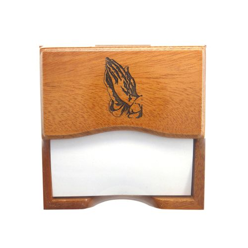 Christian desk top note pad gift in wood with praying hands