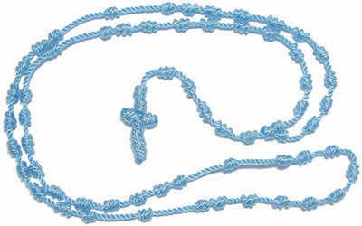 Pastel blue knotted rope rosary beads necklace