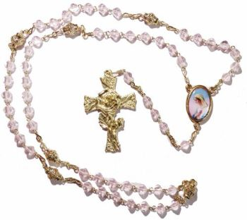 Decade pocket catholic heart glass rose rosary beads pink