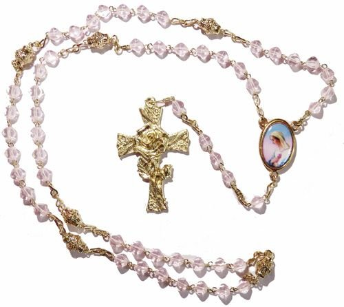 Pale pink Mystical rose glass 6mm 5 decade rosary beads gold paters Catholi