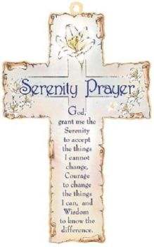"Catholic Serenity prayer 15cm cross wall hanging laser cut 6"" gift"