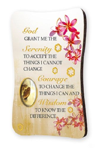 Serenity prayer fridge magnet 8cm Catholic gift plaque Gold foil highlights