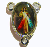 Silver center with Divine Mercy image - 17mm