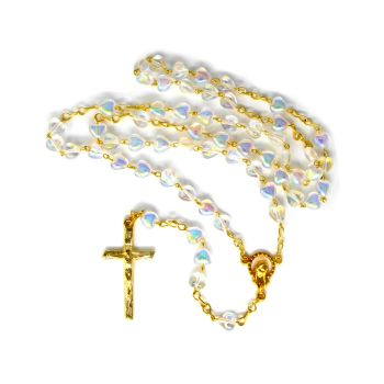 Clear glass iridescent heart seed bead rosary beads