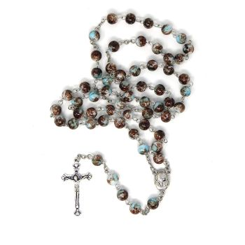 Blue brown marble rosary beads long length 57cm holy earth center