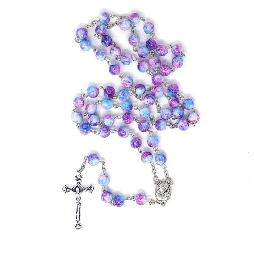 Blue pink marble rosary beads long length 57cm holy earth center