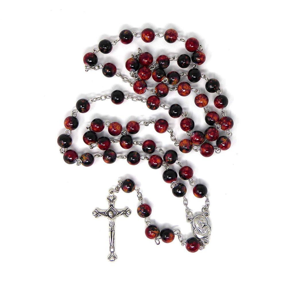 Red black marble rosary beads long length 57cm holy earth center