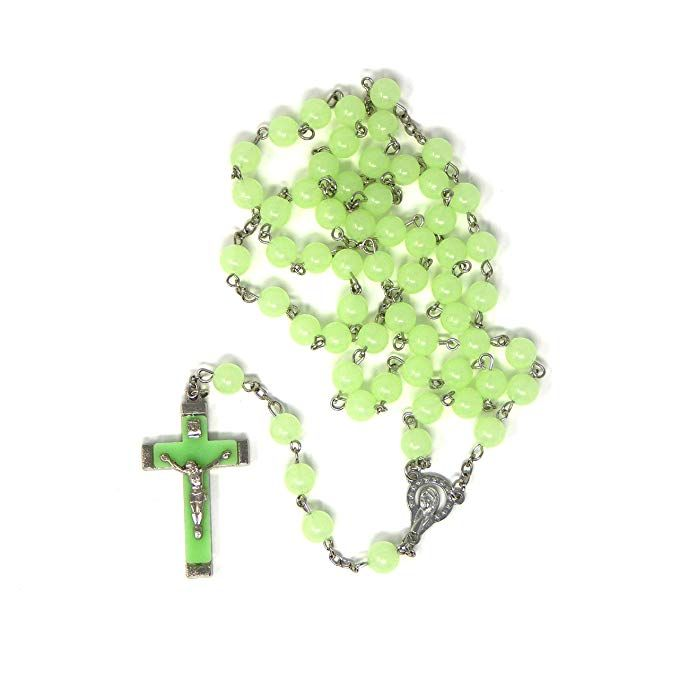 Glow in the dark rosary beads round luminous bead and cross silver chain lo