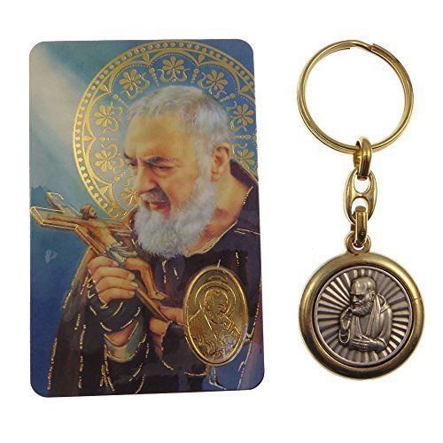 St. Padre Pio of Pietrelcina brass and silver keyring with prayer card