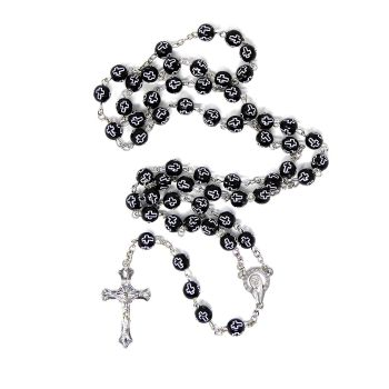 Black plastic rosary beads with crosses silver chain and cross 55cm