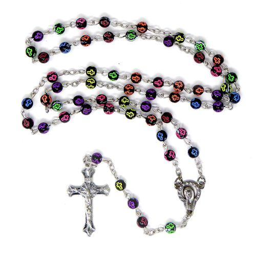 Black rosary beads with rainbow crosses silver chain and cross 50cm