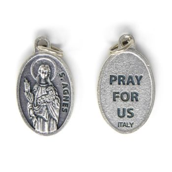 Rosary medal - St. Agnes silver metal
