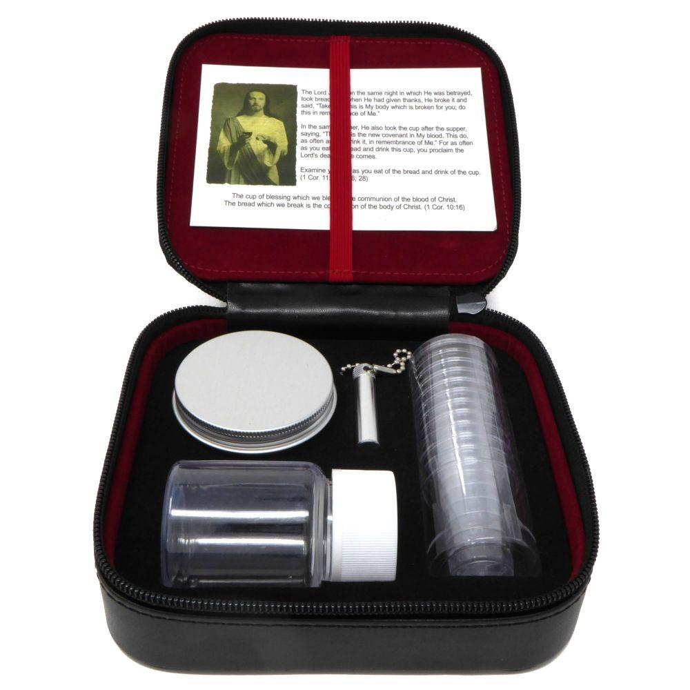 12-cup portable Communion set fabric case oil vial bottle bread tin bible s
