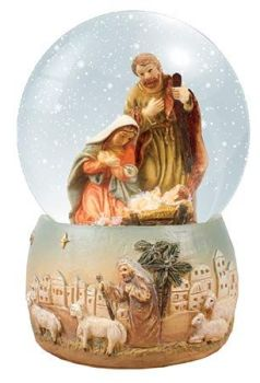 C bc Christmas Nativity scene snow globe gift waterball 4 inch Holy Family Jesus ornament