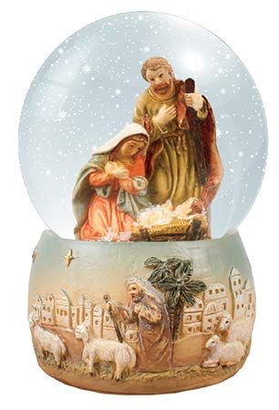 C bc Christmas Nativity scene snow globe gift waterball 4 inch Holy Family