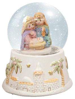 "CBC Children's Christmas Holy Family - Jesus Mary Joseph - 2½"" Resin Nativity Water Ball - Snow globe"