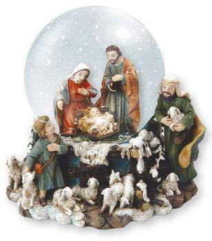 C bc Nativity scene snow globe waterball Joseph Mary Jesus shepherds 11cm ornament