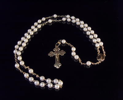 Plastic pearl 5mm white rosary beads