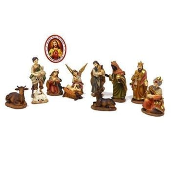 Rosary Heaven Quality Nativity set figurines Holy family Kings Angel Shepherd 11cm ornaments + window sticker