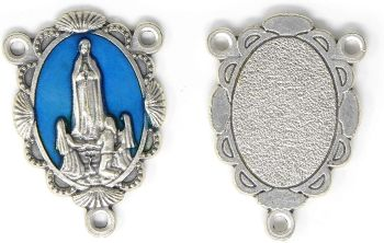 Large Our Lady of Fatima blue silver center piece for making rosary beads 3.4cm