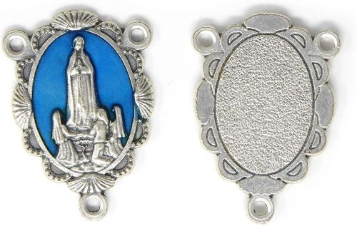 Large Our Lady of Fatima blue silver center piece for making rosary beads 3
