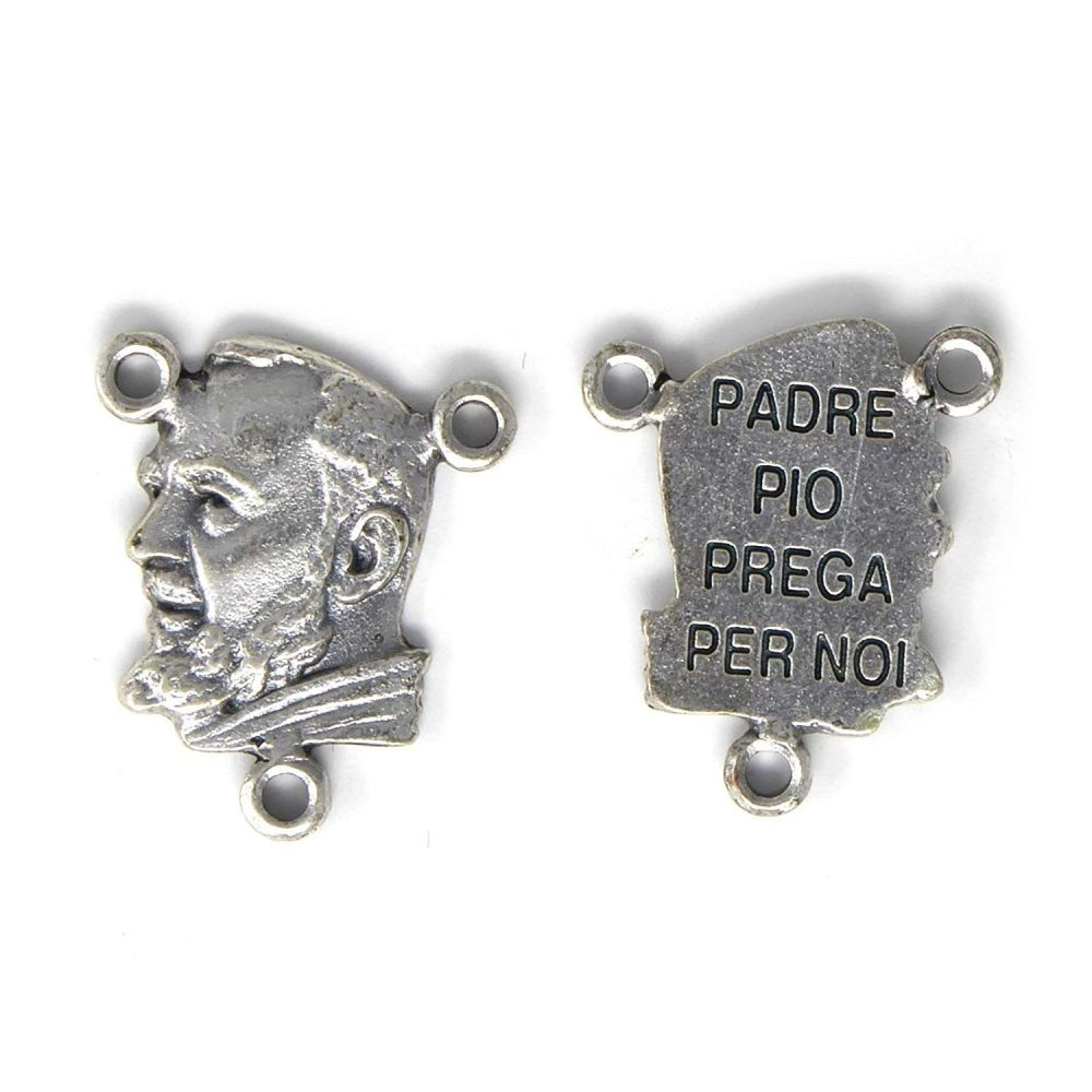 Padre Pio Silver Center for Making Rosary Beads 2cm