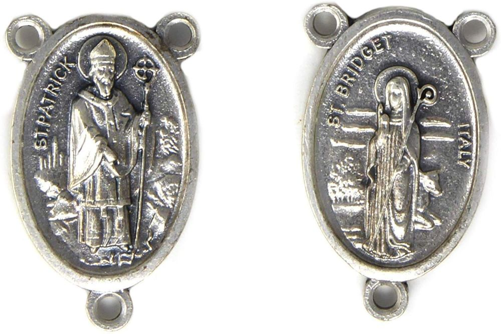 St. Bridget and St. Patrick Silver Metal Center Piece for Making Rosary Bea