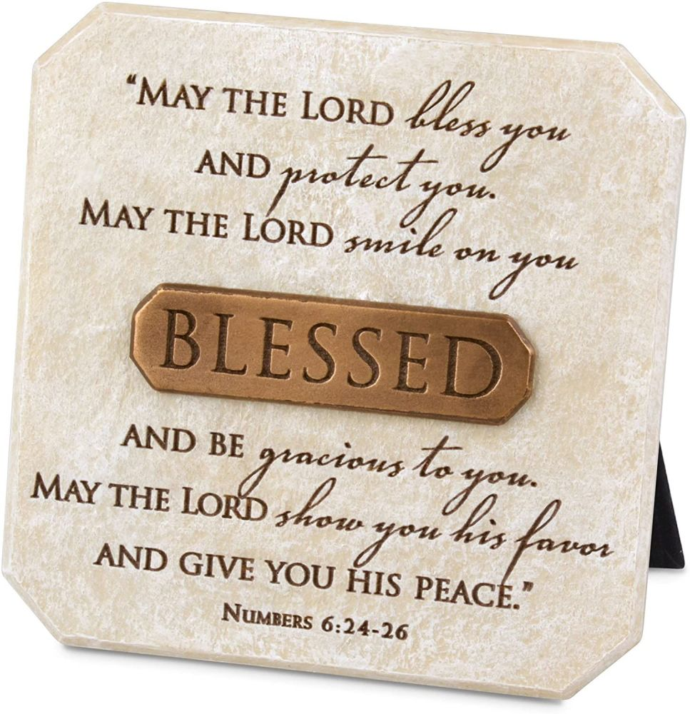 Christian Blessed plaque picture stand May the Lord Bless you Bronze detail