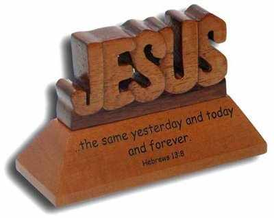 Desk top carved Jesus ornament with Hebrews verse