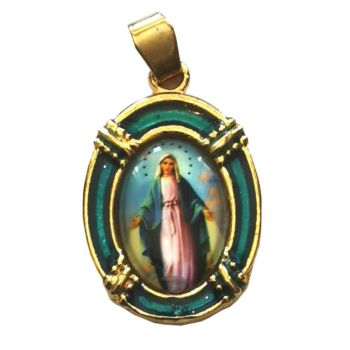 2.5cm gold blue Virgin Mary Miraculous medal Catholic pendant for rosary beads