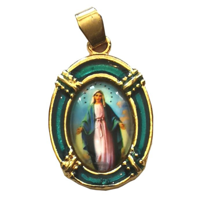 2.5cm gold blue Virgin Mary Miraculous medal Catholic pendant for rosary be