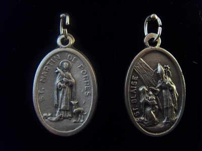 Silver metal St. Blaise and St. Martin medal pendant