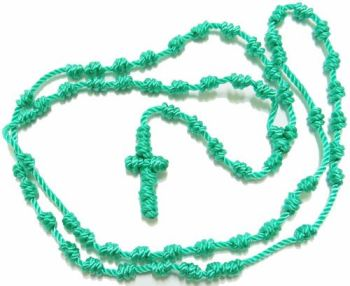 Teal colour rope knotted cord rosary beads 48cm green