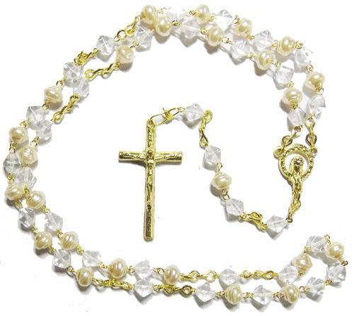 Clear glass pearl effect rosary beads gold colour chain 48cm