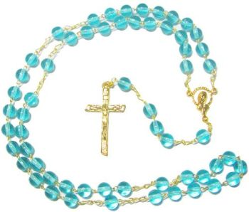 Aqua blue round glass rosary beads on gold chain 44cm Catholic prayer