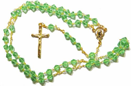 Bicone glass green rosary beads on gold colour chain 42cm