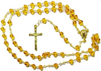 Bicone glass amber yellow colour rosary beads on gold colour chain 42cm