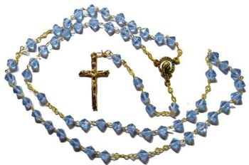 Bicone glass blue rosary beads on gold colour chain 42cm