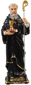 """8"""" / 200mm Saint St Benedict Italian Florentine Resin Statue"""