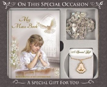 Confirmation Gift Set Girl, Remembrance Book, Rosary Beads, Medal and Chain