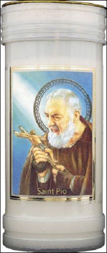 St. Padre Pio pillar candle prayer 14cm 72 hour burn 5.5