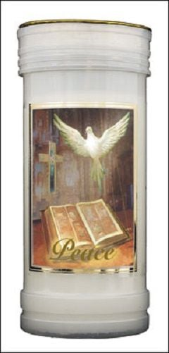 Peace Dove 72 Hour Burn Candle Saint Catholic 15cm White