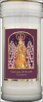 Our Lady of Health Vailankanni Candle 72 Hour Burn Prayer Saint Catholic 15cm White