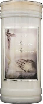 In Loving Memory candle 72 hour burn Prayer Saint Catholic 15cm White