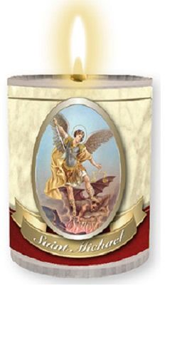 4 x St. Michael Candles Burns for 24 Hours Picture on The Front Prayer on T