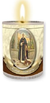 4 x St. Martin candles Burns for 24 hours Picture on the front Prayer on the back 2.5 inch tall